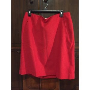 Talbots red wool skirt